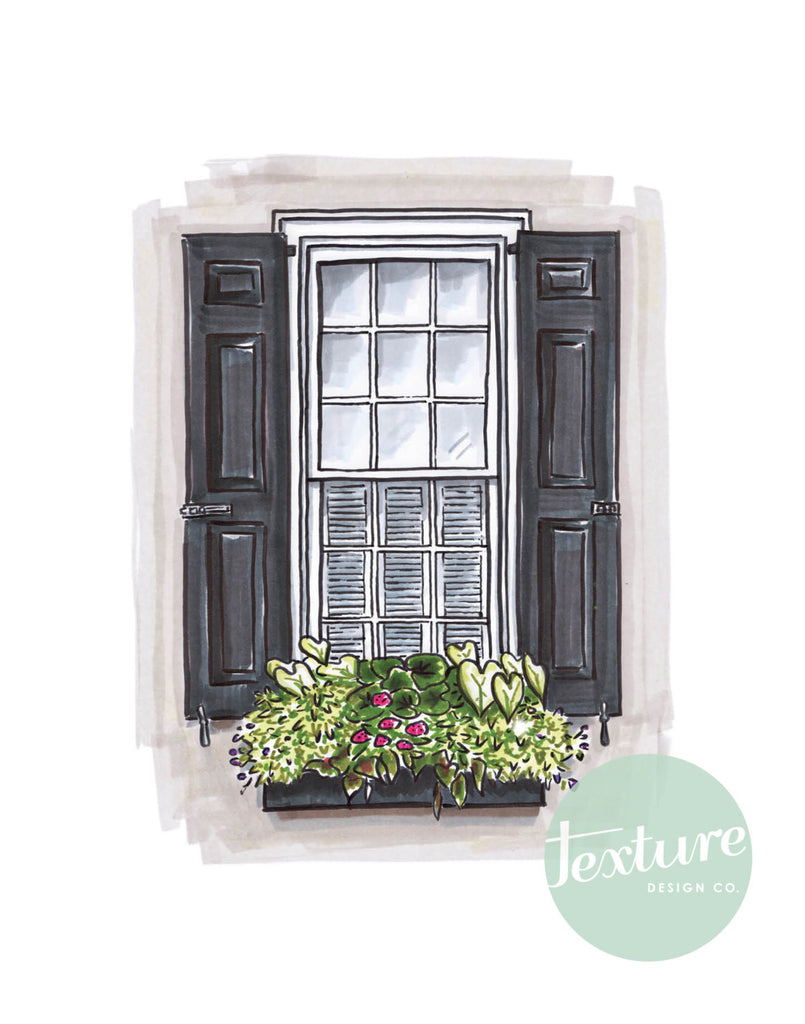 Flower Box Print of Grey House with Pink Flowers