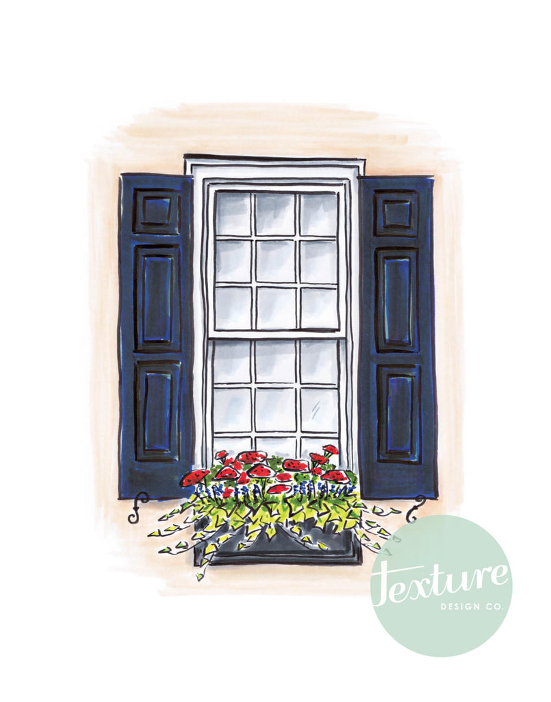Flower Box Print of Coral House with Red Flowers