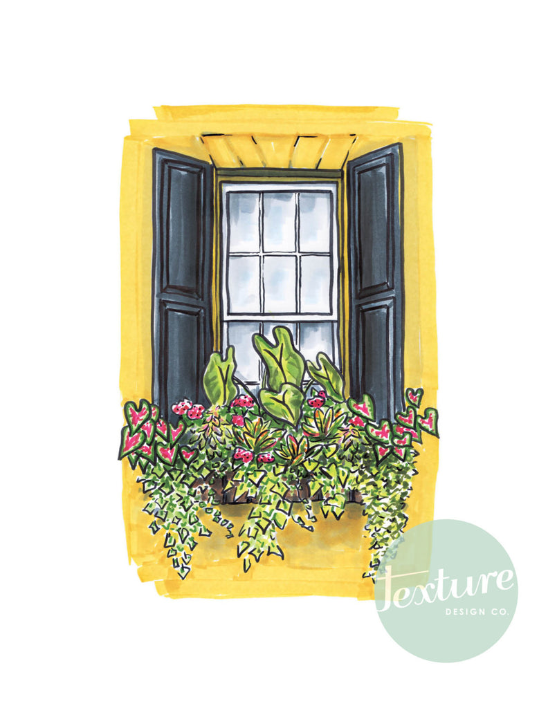 Flower Box Print of Yellow House with Black Shutters
