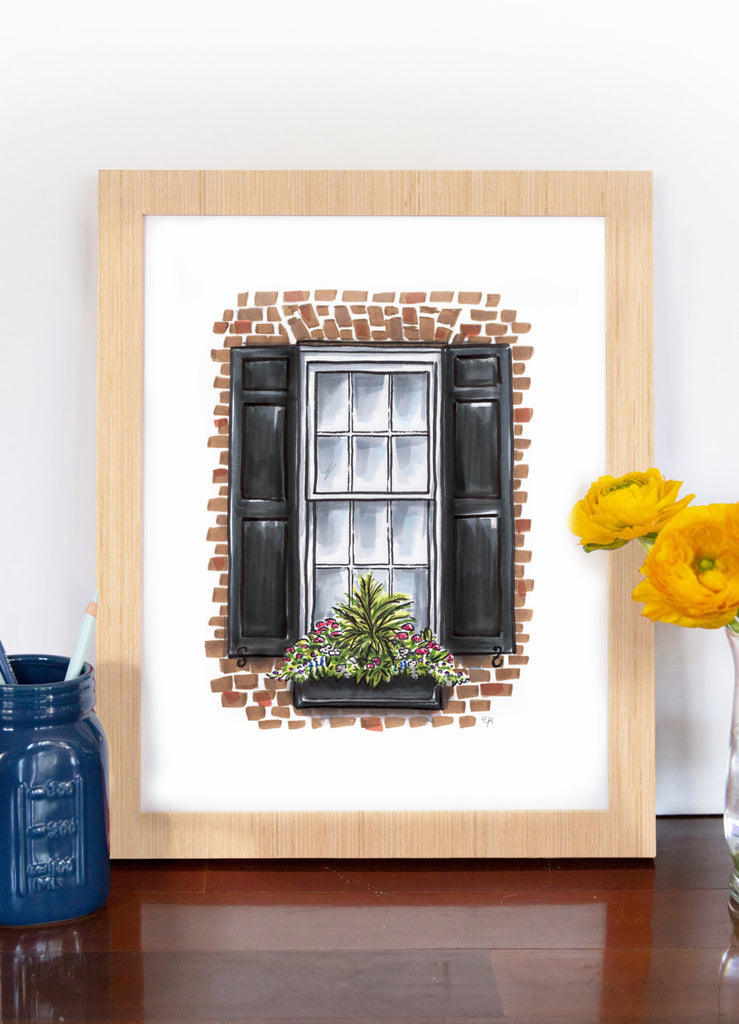 Flower Box Print of Red Brick House with Fern