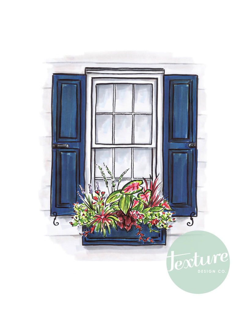 Flower Box Print of White House with Dark Blue Shutters