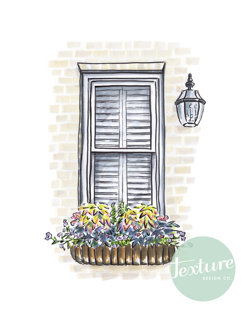 Flower Box Print of Painted Brick House and Lantern