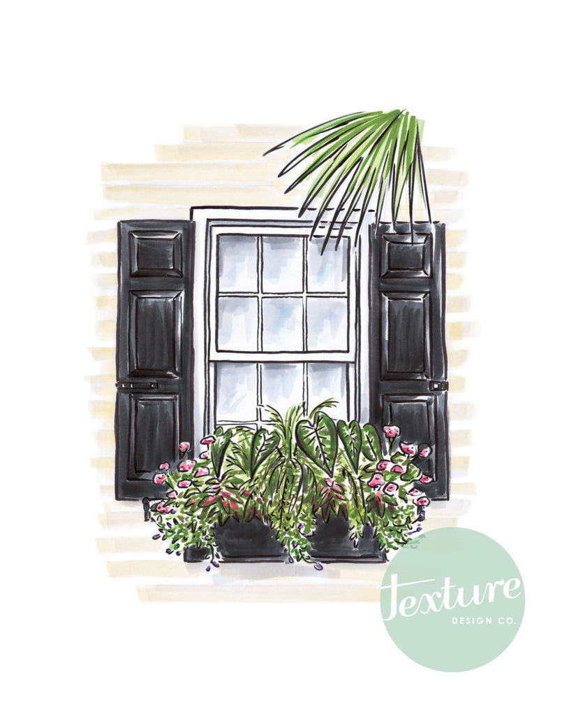 Flower Box Print with Cream House and Palm Leaf