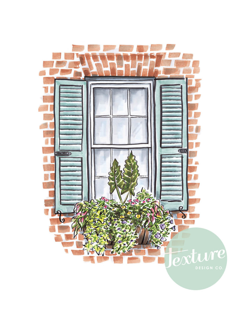 Flower Box Print with Brick House and Blue Shutters