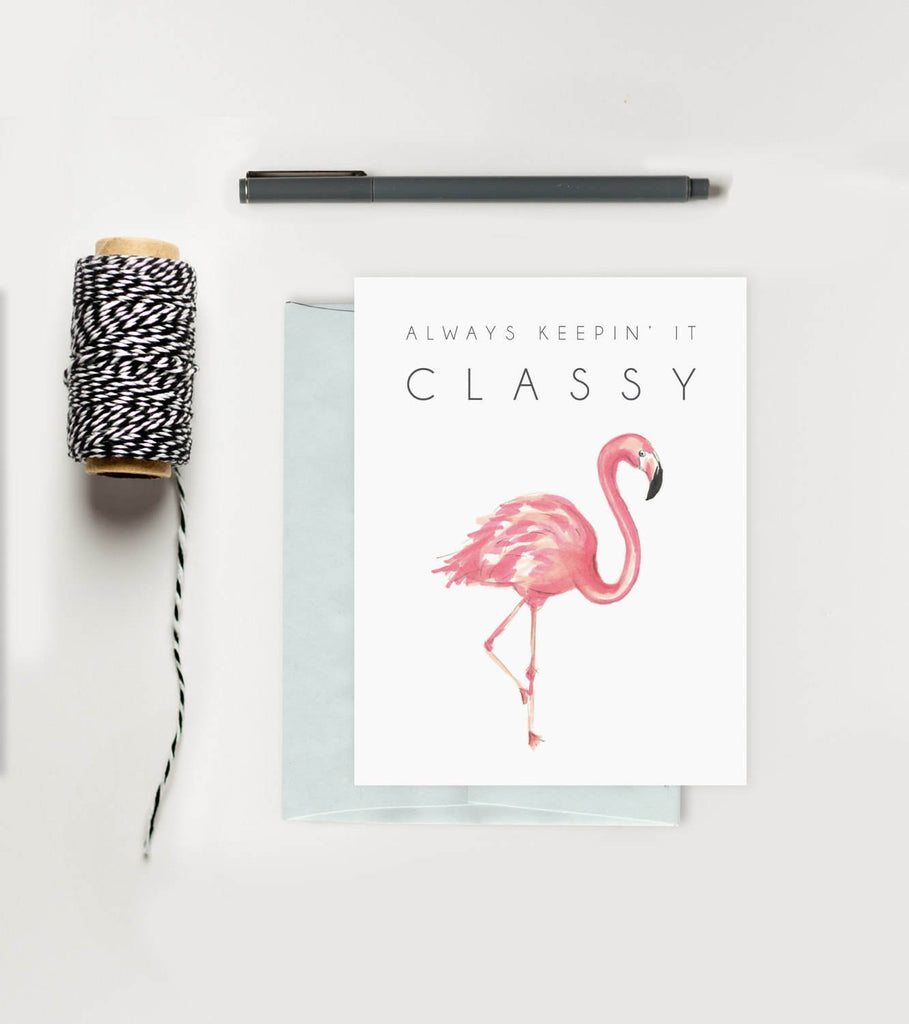 Greeting Card - Classy Flamingo