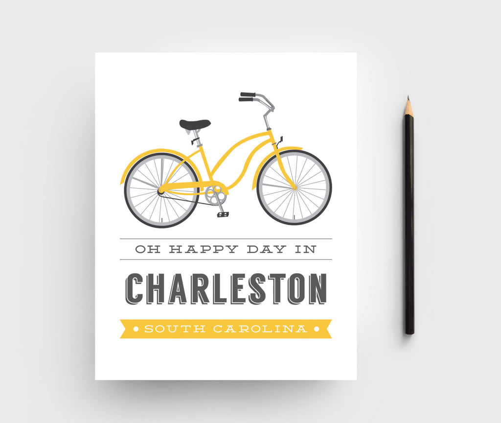 Texture Design Co - Bicycle Typographic Print - Charleston