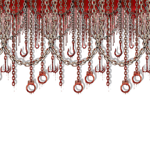 Bloody Chains & Hooks Backdrop, Size 4' x 30'