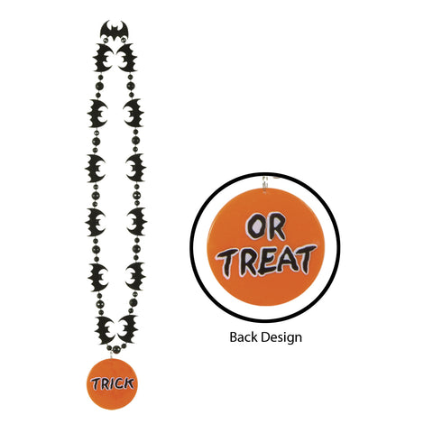 Bat Collares w/Prtd Trick Or Treat Medal, Size 33""