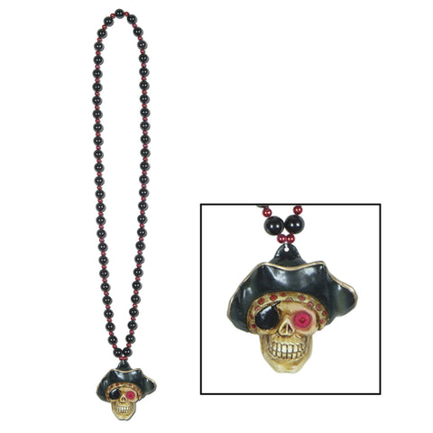 Collares w/Flashing Pirate Skull Medallion, Size 36""