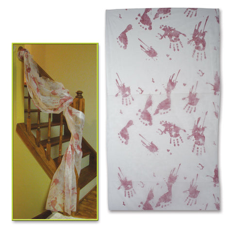 "Bloody Handprints Cloth Decoration, Size 30"" x 9' 6"""