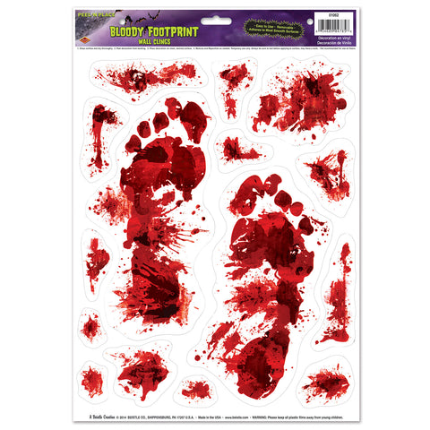 "Bloody Footprints Peel 'N Place, Size 12"" x 17"" Sh"