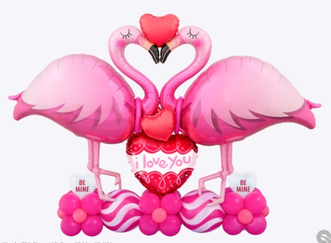 "Bouquet San Valentin, 46"" Flamingo Rosa, 9"" Corazon Ruby Rojo, 18"" Corazon I Love You Doodle Loops, 12"" Quicklink Líneas Curvas Rosadas"