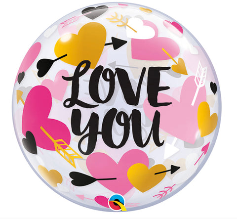 "22"" Burbuja, Amor, Diseño Love You Heart Arrows Bubble Balloon"