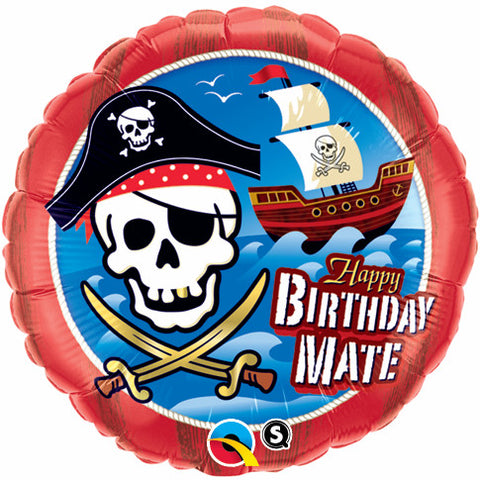 "18"" Redondo, Happy Birthday Mate! Barco Pirata y Calavera"