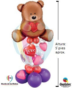 "Pedestal: Oso Gigante ""I love You""  Metálico  con burbuja de ""I love You"" & base de globos látex"
