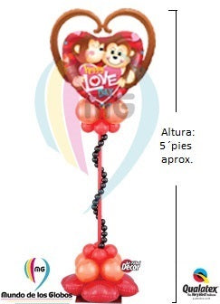 Pedestal Corazon Gigante Happy Love Day Pareja de Monitos con base vertical de globos estilizada