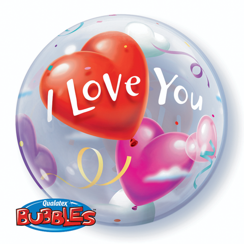 "22"" Burbuja, I Love You con Corazones"