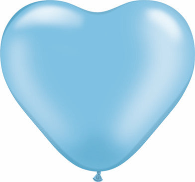 "06"" Corazon Azul Claro Nacarado, Latex Solido"