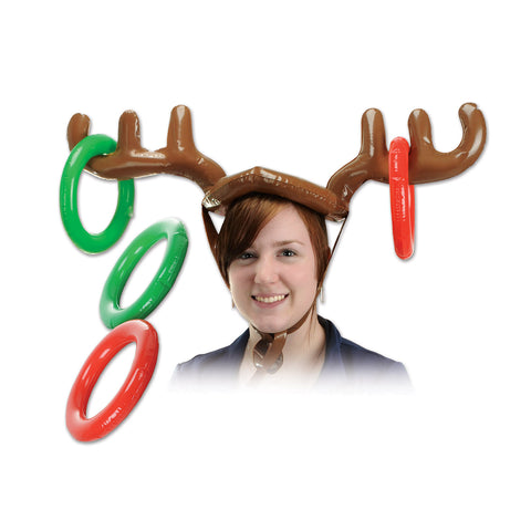 "Inflatable Reindeer Ring Toss, Size 27"" & 7¼"""