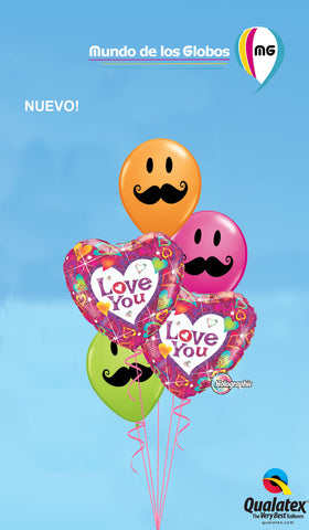 BOUQUET DE CORAZONES HOLOGRAFICOS Y BIGOTES SMILEY LATEX