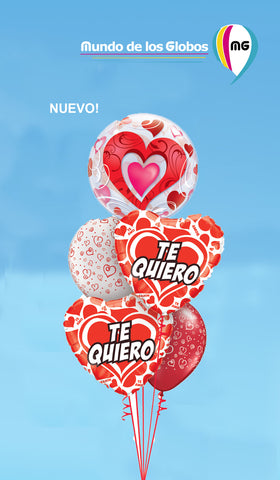 BOUQUET DE CORAZON BUBBLE  y CORAZONES ROJOS METALICO Y LATEX