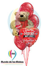 Oso Gigante XOXO Metalico & Corazon I love You Everyday not Just on Valentine´s con latex de corazon impresos