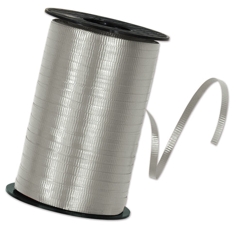 "Silver Curling Ribbon, Size 3/16"" x 500 yards"