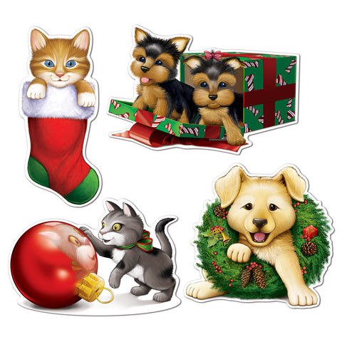 "Christmas Puppy & Kitten  Recortes, Size 13""-16½"""