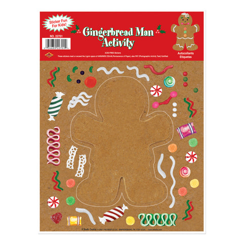 "Gingerbread Man Sticker Activity, Size 9"" x 12"" Sh"