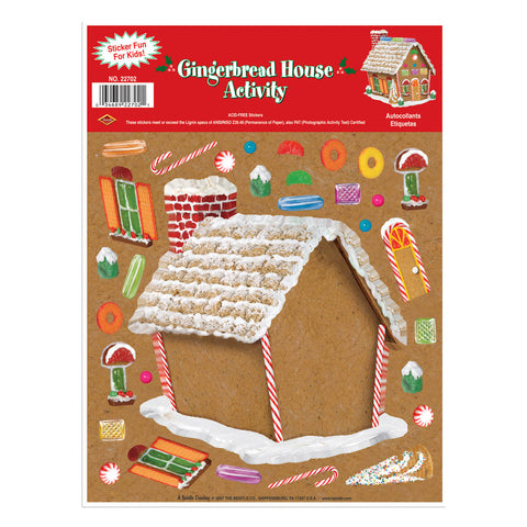 "Gingerbread House Sticker Activity, Size 9"" x 12"" Sh"