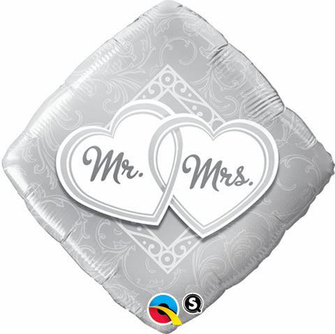"18"" Diamante, Mr. & Mrs., Corazones Entrelazados"