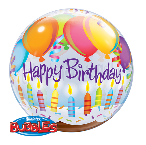 "22"" Burbuja, Happy Birthday, Globos y Velas"