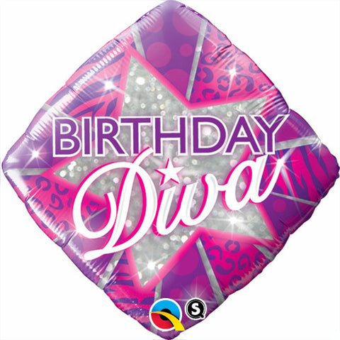 "18"" Diamante, Happy Birthday, Diva"