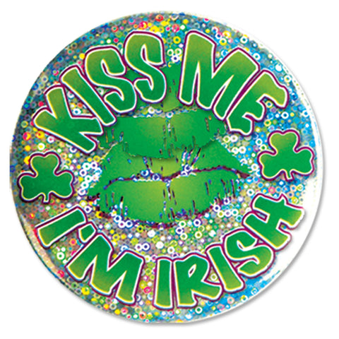 Kiss Me I'm Irish Button, Size 3½""