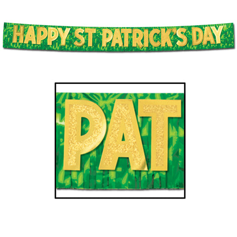 "Metallic Happy St Patrick's Day Banner, Size 10"" x 10'"