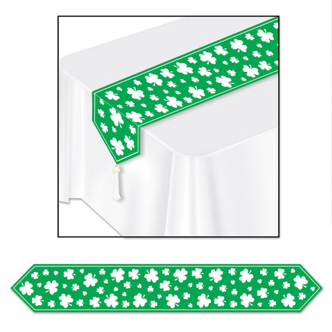 "Printed Shamrock Table Runner, Size 11"" x 6'"