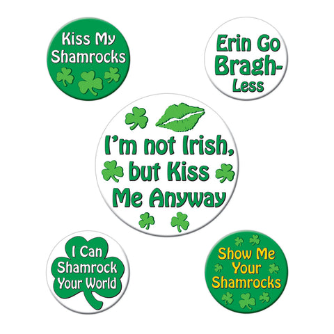 "St Patrick's Funny Party Buttons, Size 2-1/3"" & 1-1/3"""