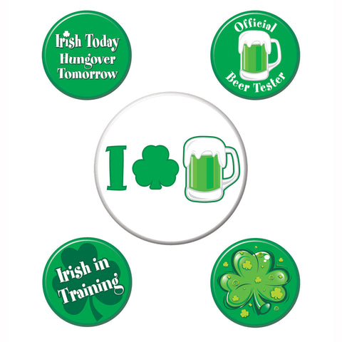 "St Patrick's Party Buttons, Size 2-1/3"" & 1-1/3"""