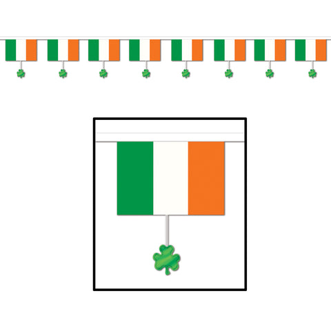 "Flags & Shamrocks Pennant Banner, Size 16"" x 12'"