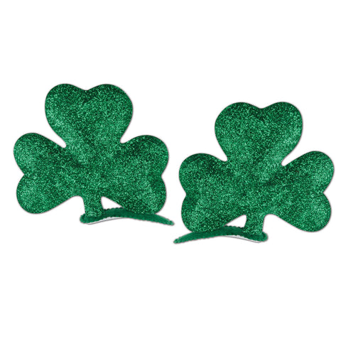 Glittered Shamrock Hair Clips