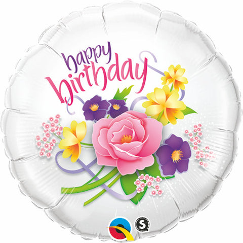 "18"" Redondo, Happy Birthday, Bouquet Floral"