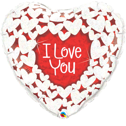 "36"" Corazon Holografico, I Love You, Corazones Brillantes"