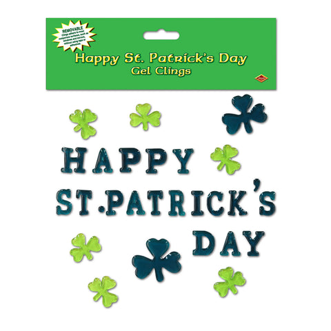 "Happy St Patrick's Day Gel Adherivos, Size 7½"" x 7½"" Sh"