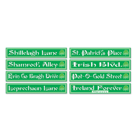 "St Patrick's Day Street Sign Recortes, Size 4"" x 24"""