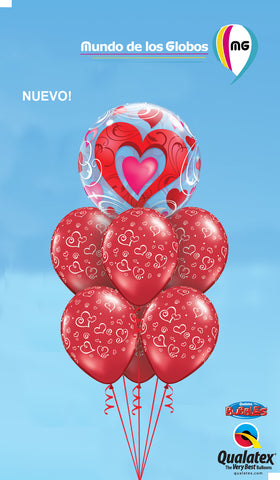 BOUQUET DE CORAZON BUBBLE CON GLOBOS ROJOS ESTAMPADOS