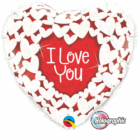 "18"" Corazon Holografico, I Love You, Corazones Brillantes"