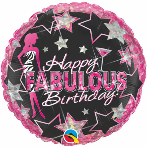 "18"" Redondo Holografico, Happy Birthday, Fabulous"