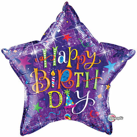 "36"" Estrella, Holografico, Happy Birthday, Typografia Purpura"