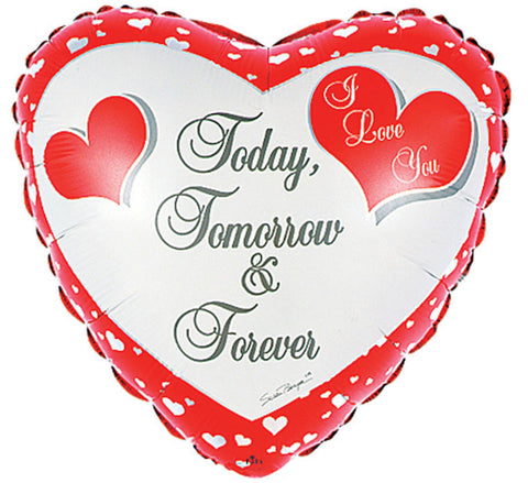 "17"" Corazón, Amor, Diseño Today Tomorrow & Forever Heart Shape"