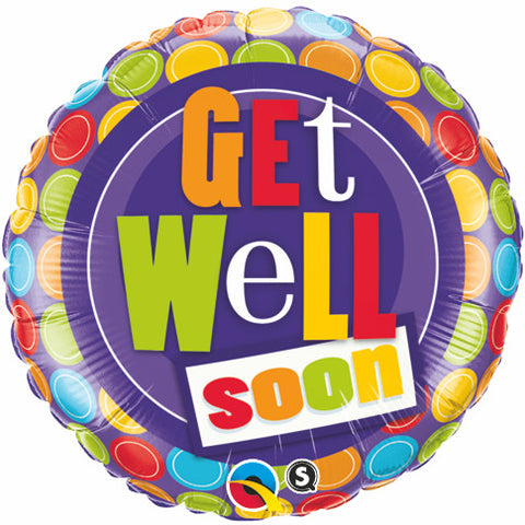 "18"" Redondo Get Well con Bolas de Colores"